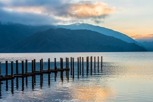 sunset landscape of lake, Japan