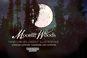 Moonlit Woods Linocuts