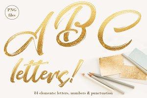 Gold ombre letters clip art