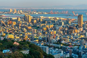 sunset of aerial cityscape, Japan