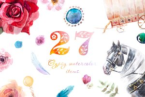 27 watercolour gypsy items