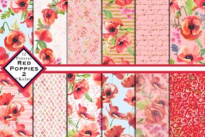 Red Poppy Watercolor Patterns