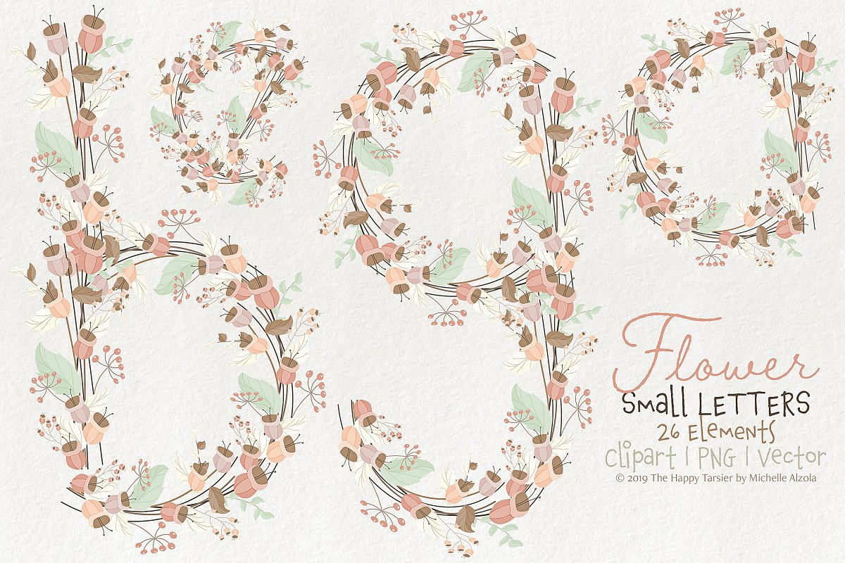 Flower Lower Case Letters 01BI07  in Illustrations - product preview 8