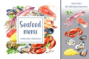 Seafood menu. Watercolor collection