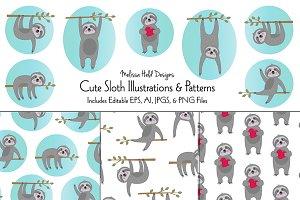Cute Sloth Illustrations & Patterns