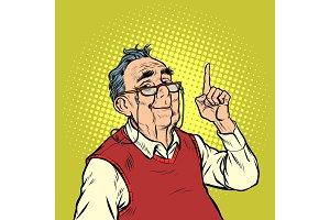 smile elderly man with glasses