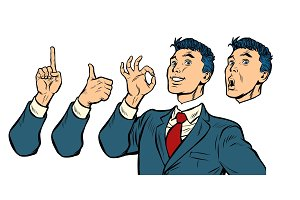 businessman set of gestures and