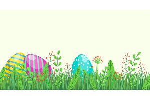 Easter seamless border with eggs