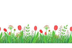 Spring grass seamless border vector