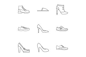 Types of shoes icons set, outline