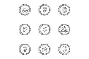 Types of money icons set, outline