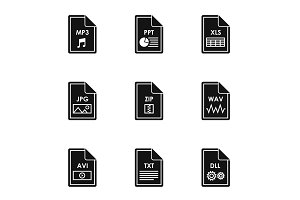 Documents icons set, simple style