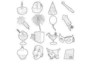 Happy birthday icons set, outline