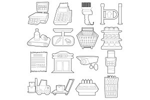 Supermarket items icons set, outline