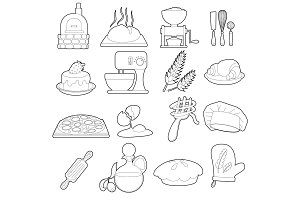 Bakery production icons set, outline