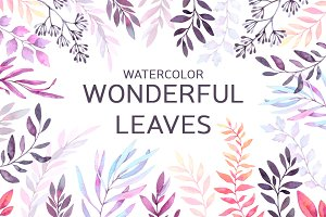 Watercolor wonderful leaves. Violet