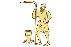 Medieval Farmer Holding Scythe Etchi