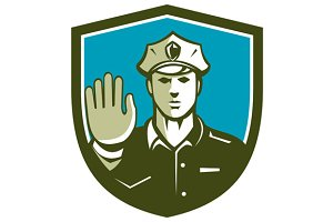 Traffic Policeman Hand Stop Sign Shi
