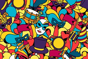 Carnival show seamless patterns.