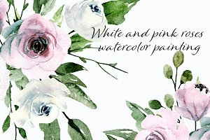 Watercolor flowers white, pink roses