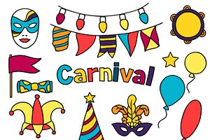 Carnival show set of doodle icons.