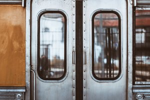 Metallic grungy train coach doors