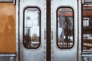 Metallic grungy train coach doors