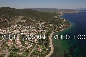 Aerial scene of sea, coastline and