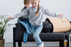 adorable cheerful kids having fun an