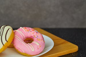 Donut. Sweet food and cup of coffee