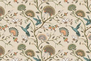 2 Patterns with flowers and birds