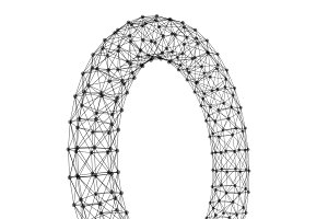 Wireframe ring. Cloud computing and