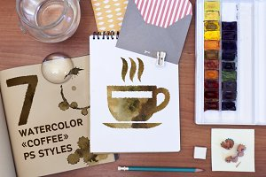 "7 Watercolor ""Coffee"" PS Styles"