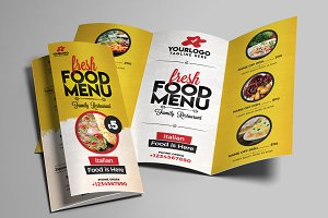 Restaurant Menu Tri Fold Brochure