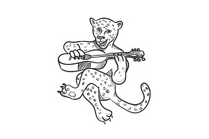 Happy Leopard Playing Acoustic Guita