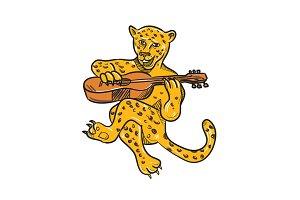 Happy Jaguar Playing Acoustic Guitar