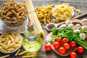 Various pasta with vegetables