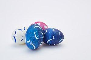 handmade easter eggs on  white