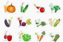 Vegetable juice flat icons