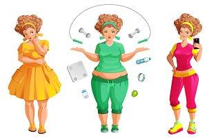 Fat woman weignt loss. Fitness