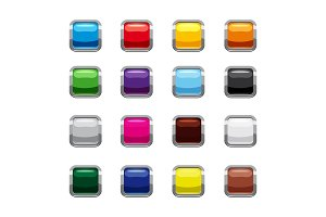 Blank square buttons icons set