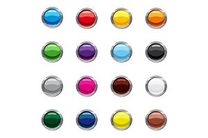 Blank round web buttons icons set