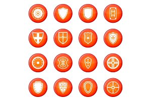 Shield icons vector set
