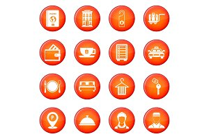 Hotel icons vector set