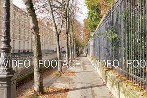 Quiet Paris street on sunny autumn