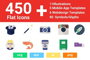 450 Shift Flat Icons+ Much More