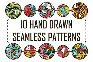 10 Seamless hand drawn pattern