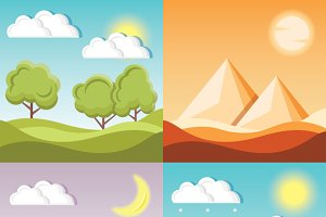 4 Nature Backgrounds Set