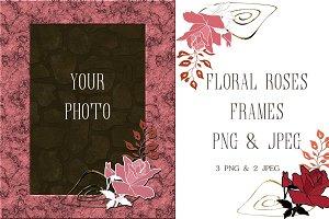 Frame & Floral Roses PNG files