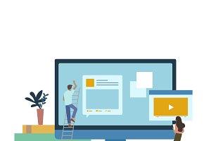 Illustrated people web development